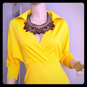 NWT BEAUTIFUL💛NEON YELLOW MIDI-DRESS💛SMALL